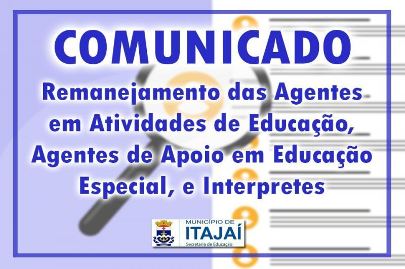 Remanejamento das Agentes em Atividades de Educação, Agentes de Apoio em Educação Especial e Interpretes