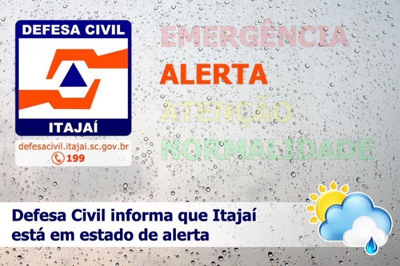 Defesa Civil de Itajaí entra em estado de alerta