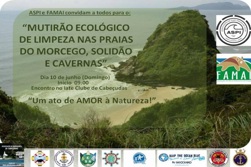 Mutirão de limpeza será realizado nas praias de Itajaí neste domingo (10)
