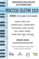 Conservatório de Música abre inscrições para processo seletivo de 2020
