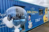 CEI Ermelinda Potter Custódio recebe doação de biblioteca contêiner