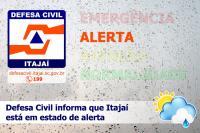Defesa Civil decreta estado de alerta em Itajaí