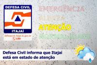Defesa Civil de Itajaí monitora nível do rio em Brusque
