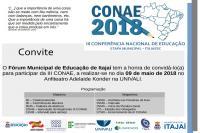Amanhã ocorre a etapa municipal da Conferência Nacional de Educação
