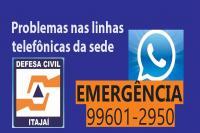 Telefone da Defesa Civil está indisponível